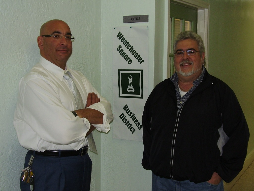 John Bonizio (left) and Joe Regina of the Westchester Square Merchants Association