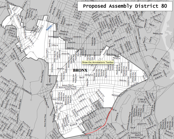 Proposed 80th Assembly District (the southeastern portion of Morris Park (in red) is moved into the 82nd District)