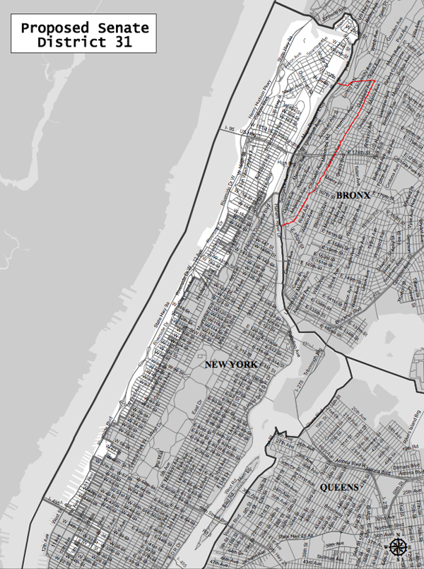 Instead of going east into The Bronx, the 31st Senate District goes south to Chelsea