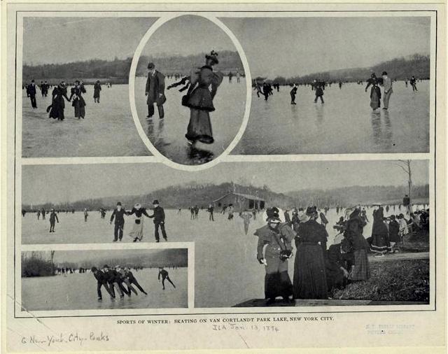 Sports of winter: skating on Van Cortland Park Lake, New York City. (1894)