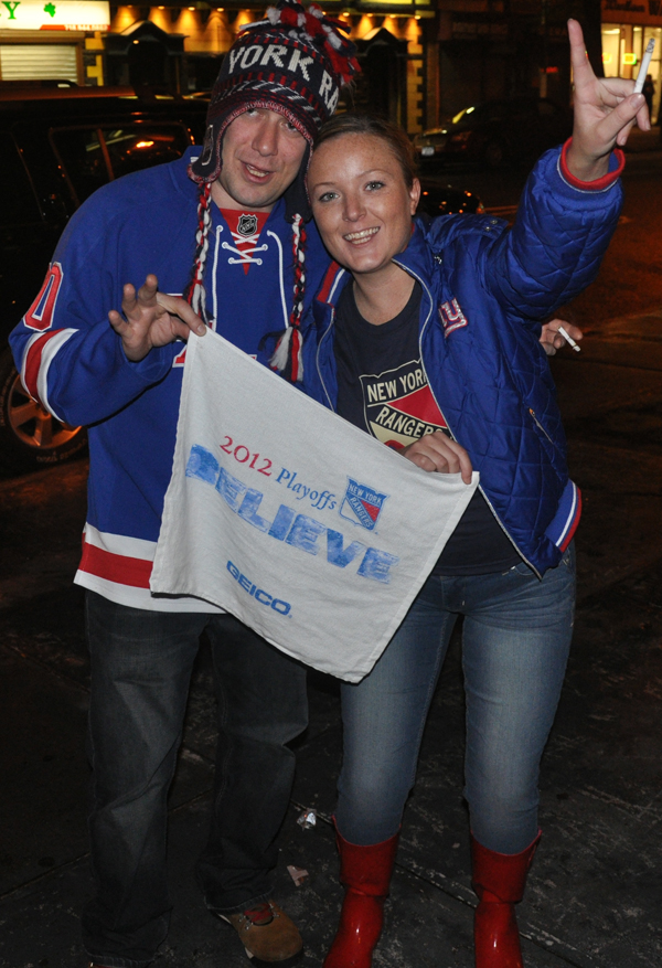 Gary Pauls (left) and Sorcha Monahan with a Rangers' rally towel