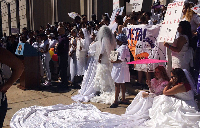 Supporters and survivors gather at the Bride's March first check point in the Bronx at the courthouse on 161st Street.