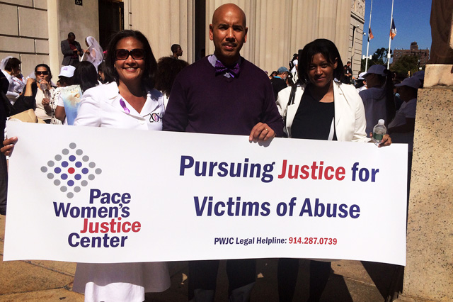 Local council member, Ydanis Rodriguez and Bronx Borough President Ruben Diaz showed their support along side Pace Women's Justice Center.